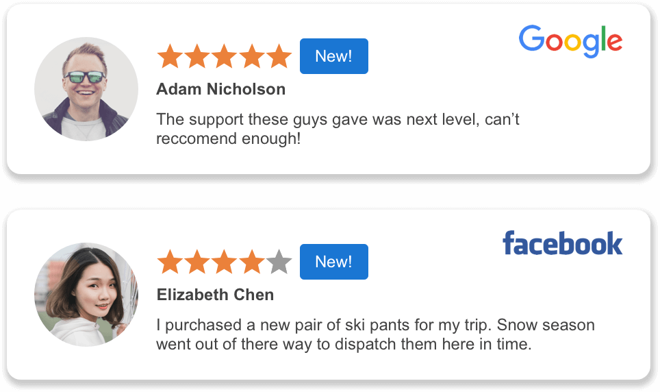 Review examples from Google and Facebook
