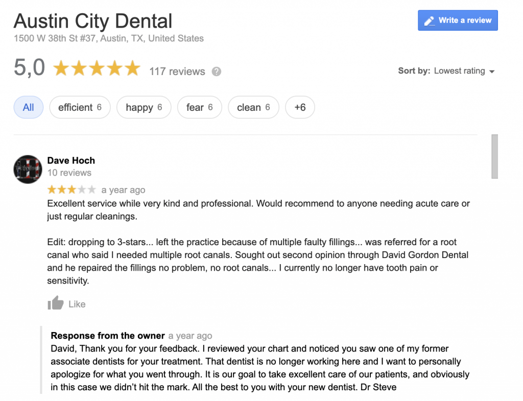 Austin City Dental Negative Online Review